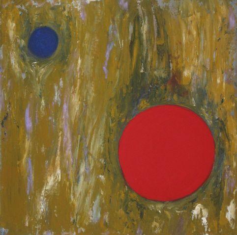 """""""Großes Rot, kleines Blau"""", 40x40"""