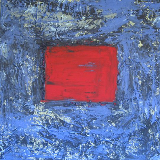 """Rotes in Blau"", 100x100"