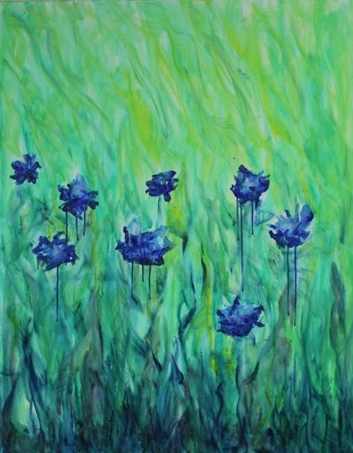 Erinnert mich an Kornblumen, , Acryl auf Leinwand, 100 X 80 cm 180€