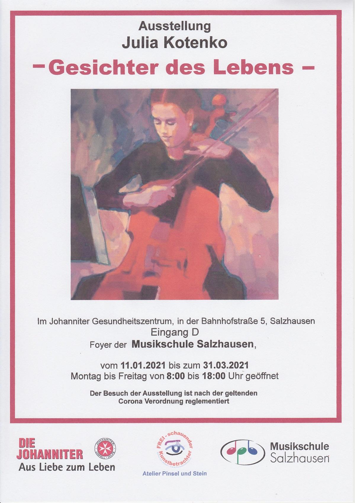 Gesichter des Lebens – Ausstellung von Julia Kotenko im Foyer der Musikschule Salzhausen bis31.03.2021